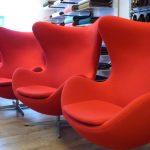 4x Fritz Hansen Egg chair gestoffeerd in Kvadrat Tonus #Rood - door meubelstoffeerderij.nl